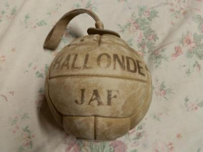 Antique French Leather Throwing Ball With Leather Handle Hand Made Nylon Filled