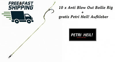 10 Pieces Jenzi Anti Blow Out Boilie Rig Hook Size 4 with Petri Heil....