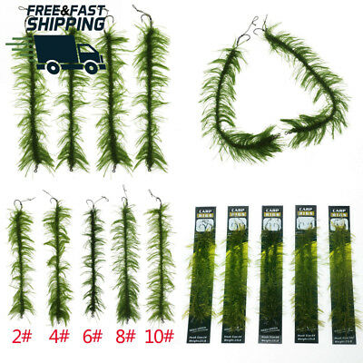 Weed Carp Fishing Hair Rigs Braid Thread 8245 Barbless Curve Shank Hooks...