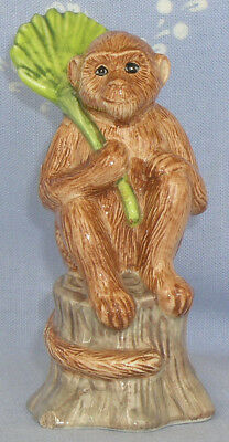 "Cute Ceramic Monkey Salt Shaker Figurine Palm Tree Stump     4.75"" Tall"