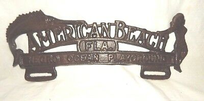 """AMERICAN BEACH FLA.  NEGRO OCEAN PLAYGROUND"" License Tag Fob CAST IRON FL  11"""