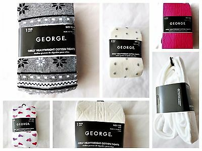 New George Girls Tights cotton Blend Heavyweight Pink White Tusk Grey Hearts