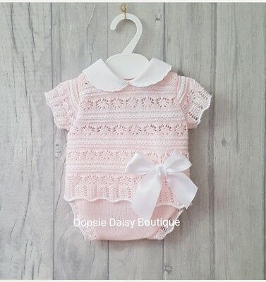 Baby Girls Gorgeous Spanish Pink Ribbon Knitted 2 Piece Jam Suits ☆