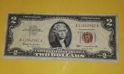 1963 $2 Two Dollar Bill US LEGAL TENDER *RED SEAL* High Grade, UNCIRCULATED 'NR'