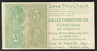 US - Adv. item - Vallee Furniture Co. - Shows Currency Parts - Circa 1880's - VF