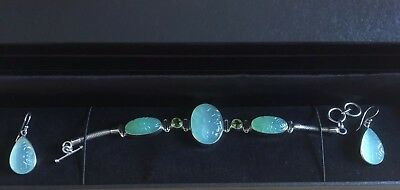 Sterling Silver Green Chalcedony Bracelet & Earring Set