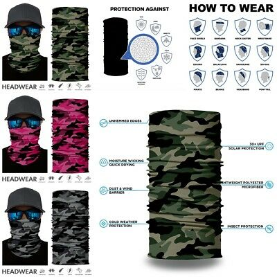 1pc/3pc Face Mask Sun Shield Neck Gaiter Neckerchief Army FaceShield Bike