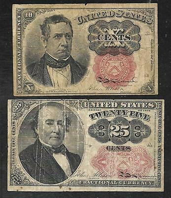 US Fractional Currency - 10 & 25 Cent Notes - Series of 1874 - FINE
