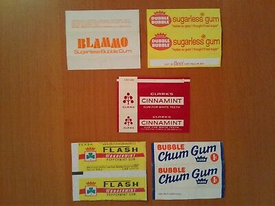 Mix Lot Of (5) Rare Chewing Gum Wrappers From 1970's