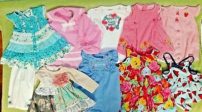 HUGE LOT 11 PC.~Baby GIRL CLOTHES~3-6 MO.~DRESSES,Bathing Suit,Bodysuits.