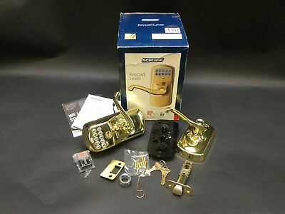 Schlage Flair Bright Brass Keypad Electronic Door Lever, Plymouth