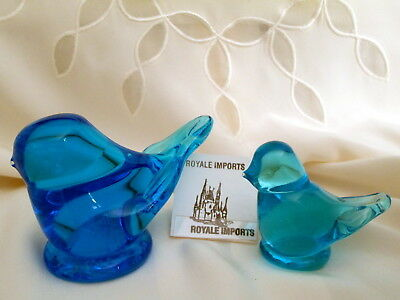 2 Bluebird Of Happiness Birds Signed Leo Ward 1993 With Original Base Labels