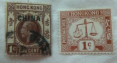 Old HONG KONG stamps 1 over printed with China.  See photos.