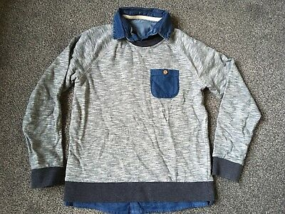 Boys Grey Jumper with faux denim shirt underneath from Dunnes Aged 10