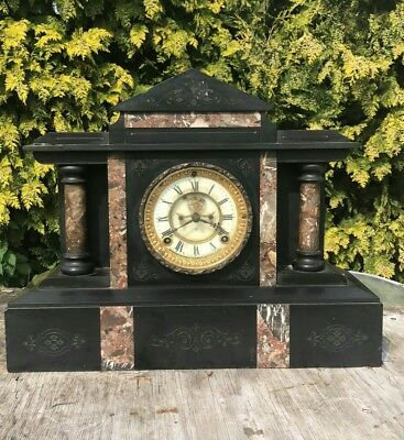 Antique Vintage Marble/Slate Ansonia Clock Co New York Clock *