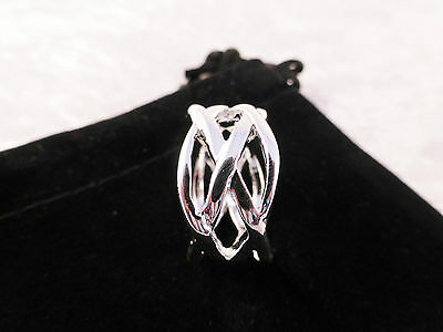 Unisex Silver Plated Solid Multi Strand Weave Ring Size 8 / P with Free Gift Bag