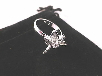 Ladies Silver Plated & Clear Crystal Dragonfly Dress Ring Size 8/P Free Gift Bag