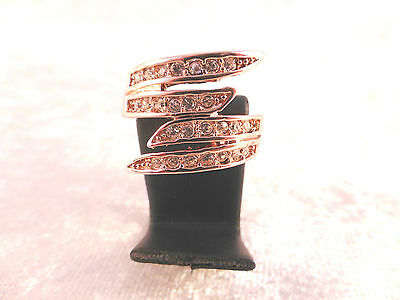 Stunning 18k Rose Gold Plated & 4 Rows of Clear Crystals Rings UK Sizes L O & Q