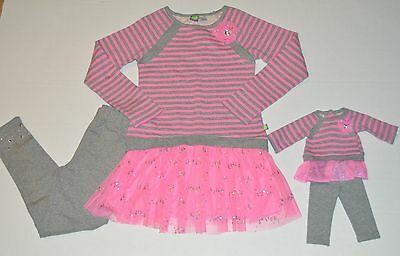 """NWT Pink Girls Dollie & Me & Matching Doll outfit fits 18"""" American Girl Size 10"""