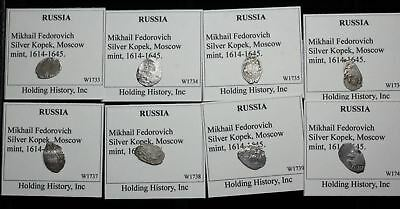 RUSSIA. Mikhail Fedorovich, Hammered Silver Kopek, Wire Money, Lot of 10