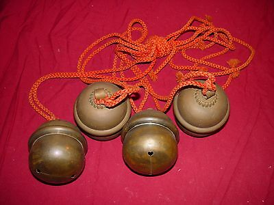 ANTIQUE JAPANESE SHINTO SHRINE TEMPLE PRAYER BELLS 4 with ROPES