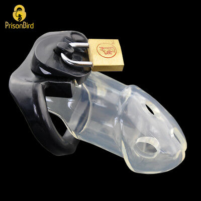USA SHIP Rikers Clear Male Chastity Device Cage - Incl 3 Rings - Fast Shipping!
