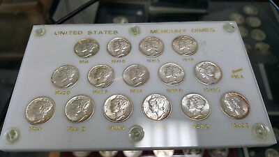 Nice Set Of Mercury Dimes In Plastic Holder 1941-1945