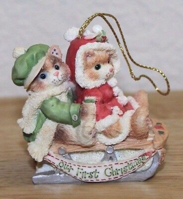 Calico Kittens OUR FIRST CHRISTMAS TOGETHER Tree Ornament Enesco Cats Newlyweds