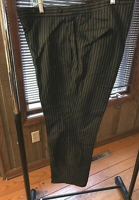Men's 1940's Vintage Pinstripe Wool Zoot Suit Pants, Button Fly, Taylor Made