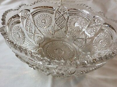 Antique Pressed Glass Punch Bowl