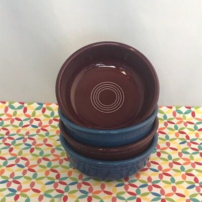 Fiestaware Small Bowl Fiesta Lapis Retired Claret 14 oz Cereal Bowls Lot of 4