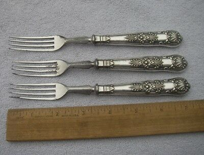 LOT: 3 Early ENGLISH SILVERPLATE Hollow Handle FORKS-Kings Pattern-Martin Hall