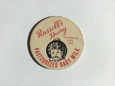 Russell's Dairy Milk Bottle Cap Hartford City Ind In Indiana Unused EXCELLENT