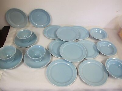 Vintage Taylor Smith Ts&t Luray Pastels Blue Plates Bowls Cups Saucers 19 Pcs