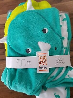NWT Carter's Just One You Dinosaur Baby Bath Towels Lot of 2 - 1 Hooded &1 not