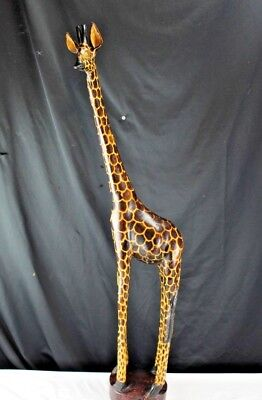 "37"" Tall Giraffe Sculpture Hand Carved Hardwood Figurine African Wild Animal"