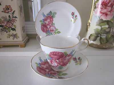Pretty Vintage Argyle Deep Pink Roses Fine Bone China Trio