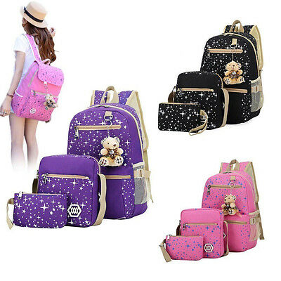 New 3pcs/Set Backpack Women Canvas Travel Bookbags School Bags for Teenage girls
