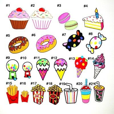 Fancy Junk Food Sweet Cake Drink Ice Cream Candy DIY Kid Clothing Iron on Patch