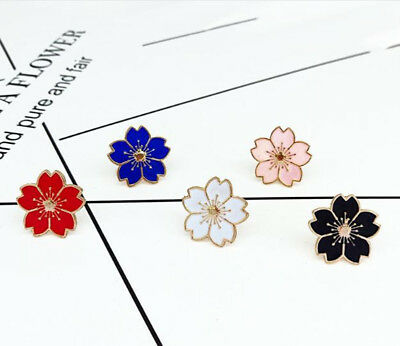 1PC Sakura Alloy Drip oil Brooch Badge Clothes Tie Sleeves Accessories Jewelry