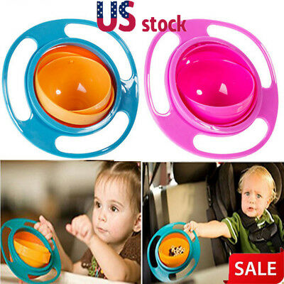 Hot 360 Rotating Bowl Magic Baby Feeding Toddler Bowl Gyro Non No Spill US