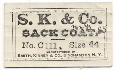 1860s CLOTHING MAKER LABEL SK & Co SACK COAT Smith Kinney BINGHAMTON NY