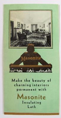 OLD ca. 1930 GRAPHIC VINTAGE ARCHITECTURE BUILDING AD w MASONITE INSULATING LATH