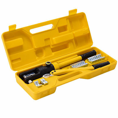 16 Ton Hydraulic Wire Terminal Crimper Battery Cable Lug Crimping Tool w/Dies