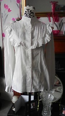 Beautiful 1970s Vintage Laura Ashley Victorian Style Ivory Blouse Size 12