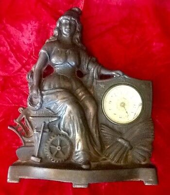 Antique Mantle Shelf Clock Cast iron Early 1900's American Flag Bronzed Figural