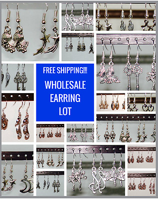 WHOLESALE Lot **12 PAIRS**  GIRLS EARRINGS ON STERLING SILVER HOOKS - QUALITY