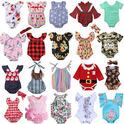 USA Newborn Baby Girl Clothes Flower Jumpsuit Romper Bodysuit + Headband Outfits