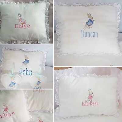 Peter rabbit cot/cot bed frilled pillow FREE personalisation