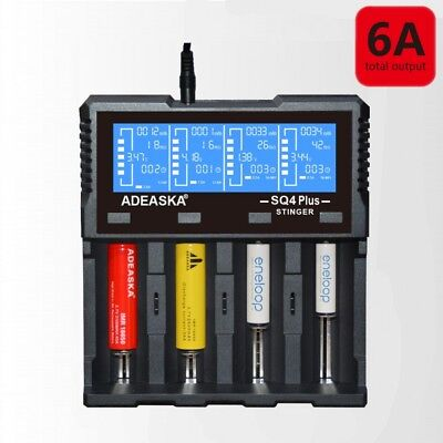 ADEASKA SQ4 18650 LCD Li-ion 12V USB 4 Slot Smart Intelligent Battery Charger